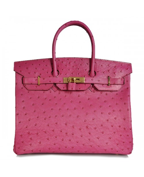 Replica Hermes 35cm Birkin Handbag Plum Red Ostrich with Gold Hardware-78323