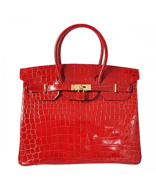 Replica Hermes 35cm Birkin Handbag Red Crocodile Porosus Leather with Gold Hardware-78216
