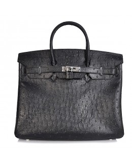 Replica Hermes 35cm Birkin Handbag Black Ostrich with Silver Hardware-78234