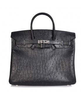 Replica Hermes 40cm Birkin Handbag Black Ostrich with Silver Hardware-78955