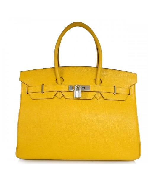 Replica Hermes 40cm Birkin Handbag Candy Collection Yellow Togo Leather with Silver Hardware-79016