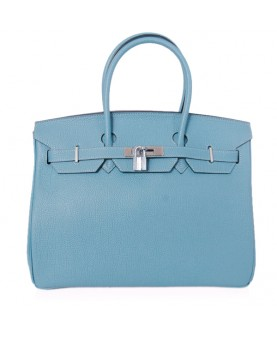 Replica Hermes 40cm Birkin Handbag Blue Jean Togo Leather Silver Metal-79026