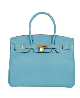 Replica Hermes 35cm Birkin Handbag Blue Jean Togo Leather with Gold Hardware-78219
