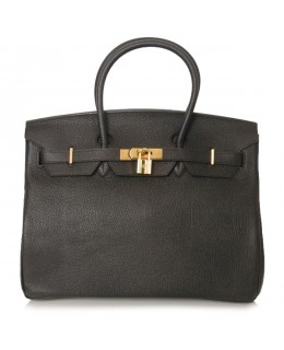 Replica Hermes 35cm Birkin Handbag Black Togo Leather with Gold Hardware-78210