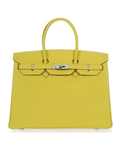 Replica Hermes 35cm Birkin Handbag Candy Collection Lemon Jaipur Epsom Leather with Silver Hardware-78193