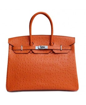 Replica Hermes 35cm Birkin Handbag Orange Ostrich With Silver Hardware-79102
