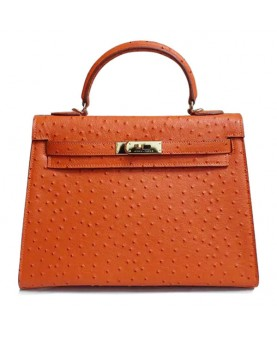 Replica Hermes Kelly Handbag 32cm Orange Ostrich With Golden Hardware-79103
