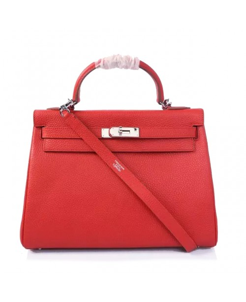 Replica Hermes Kelly Handbag 32cm Red Togo Leather Silver Metal-79029