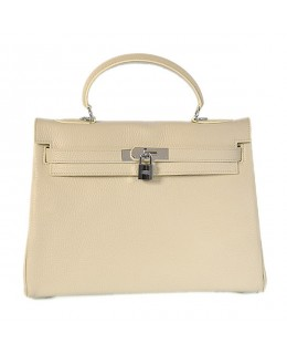 Replica Hermes Kelly Handbag 32cm Beige Togo Leather Silver Metal-79030