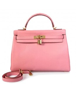Replica Hermes Kelly Handbag 32cm Pink Togo Leather Golden Metal-79031