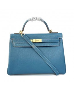 Replica Hermes Kelly Handbag 32cm Blue Togo Leather Golden Metal-79032