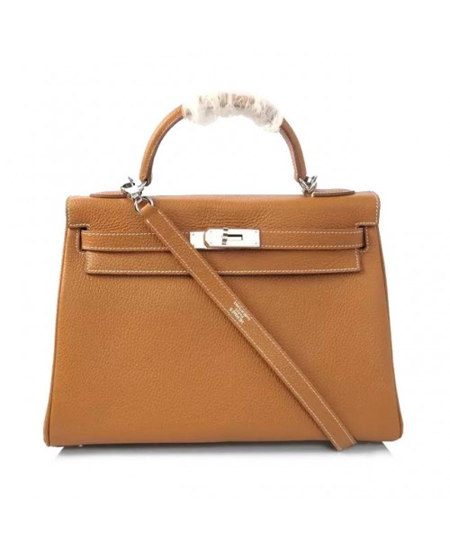 Replica Hermes Kelly Handbag 32cm Brown Togo Leather Silver Metal-79033
