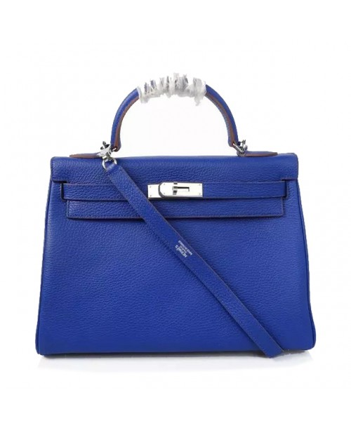 Replica Hermes Kelly Handbag 32cm Blue Togo Leather Silver Metal-79034