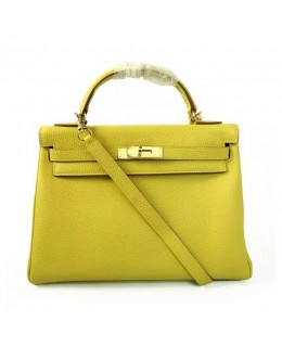 Replica Hermes Kelly Handbag 32cm Lemon Togo Leather Golden Metal-79035
