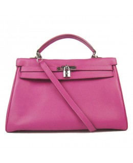 Replica Hermes Kelly Handbag 32cm Rose Togo Leather Silver Metal-79036