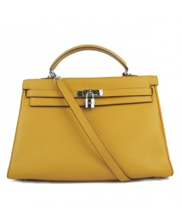 Replica Hermes Kelly Handbag 32cm Yellow Togo Leather Silver Metal-79037