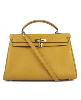 Replica Hermes Kelly Handbag 32cm Yellow Togo Leather Golden Metal-79038