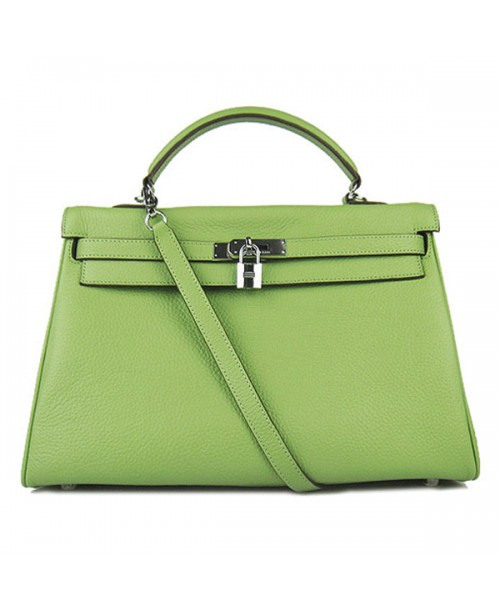 Replica Hermes Kelly Handbag 32cm Green Togo Leather Silver Metal-79039