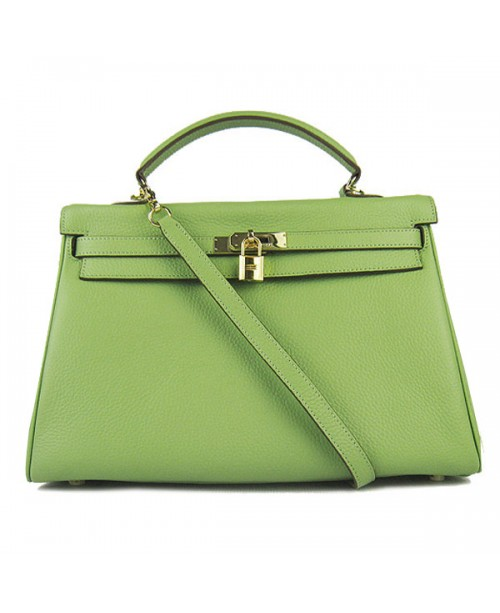 Replica Hermes Kelly Handbag 32cm Green Togo Leather Golden Metal-79040