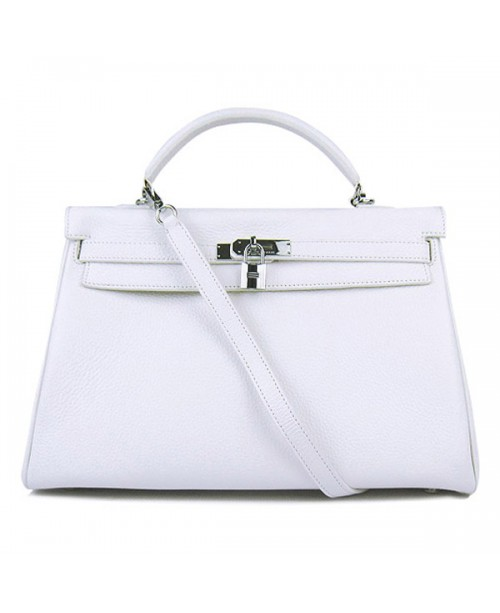 Replica Hermes Kelly Handbag 32cm White Togo Leather Silver Metal-79041