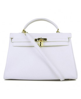 Replica Hermes Kelly Handbag 32cm White Togo Leather Golden Metal-79042