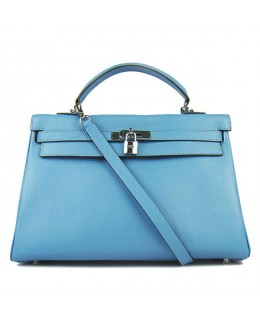 Replica Hermes Kelly Handbag 32cm Light Blue Togo Leather Silver Metal-79043