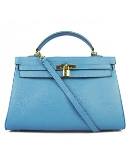 Replica Hermes Kelly Handbag 32cm Light Blue Togo Leather Golden Metal-79044