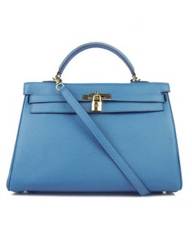 Replica Hermes Kelly Handbag 32cm Blue Togo Leather Golden Metal-79045