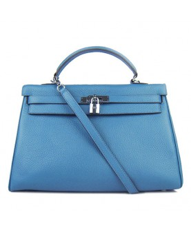 Replica Hermes Kelly Handbag 32cm Blue Togo Leather Silver Metal-79046