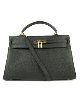 Replica Hermes Kelly Handbag 32cm Black Togo Leather Golden Metal-79047