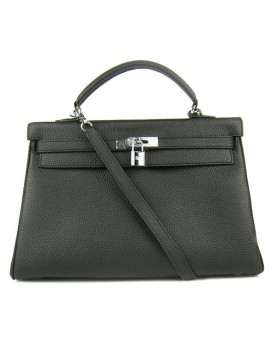 Replica Hermes Kelly Handbag 32cm Black Togo Leather Silver Metal-79048