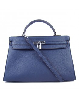 Replica Hermes Kelly Handbag 32cm Deep Blue Togo Leather Silver Metal-79049