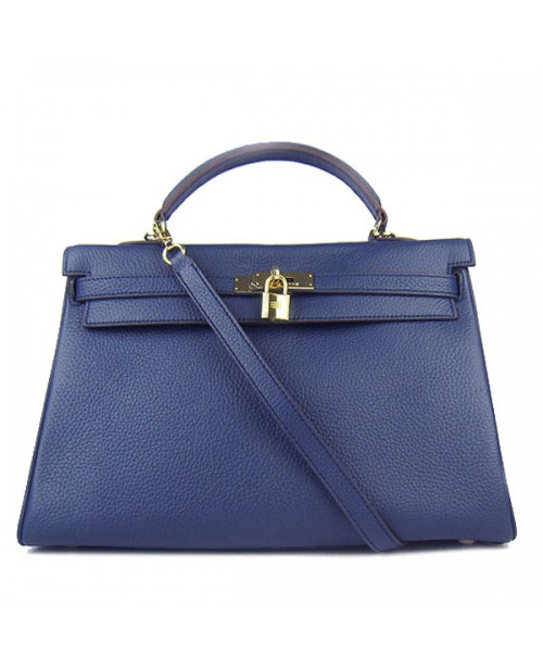 Replica Hermes Kelly Handbag 32cm Deep Blue Togo Leather Golden Metal-79050