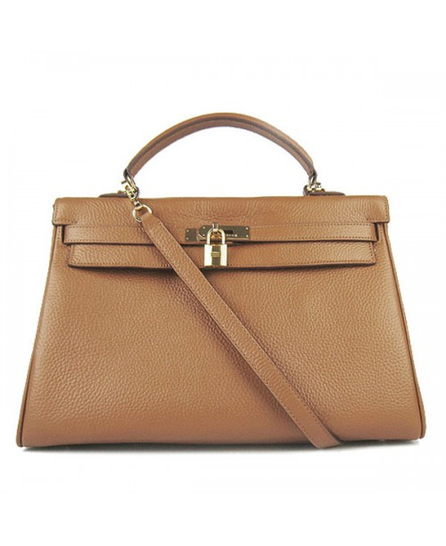 Replica Hermes Kelly Handbag 32cm Brown Togo Leather Golden Metal-79051