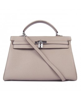 Replica Hermes Kelly Handbag 32cm Gray Togo Leather Silver Metal-79052