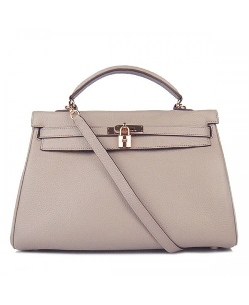 Replica Hermes Kelly Handbag 32cm Gray Togo Leather Golden Metal-79053