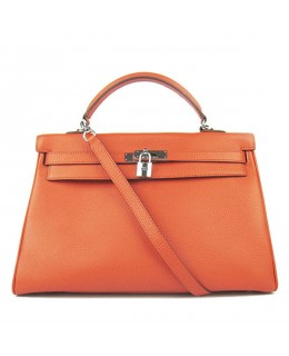Replica Hermes Kelly Handbag 32cm Orange Togo Leather Silver Metal-79054