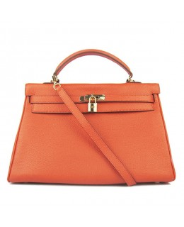 Replica Hermes Kelly Handbag 32cm Orange Togo Leather Golden Metal-79055