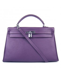 Replica Hermes Kelly Handbag 32cm Purple Togo Leather Silver Metal-79056