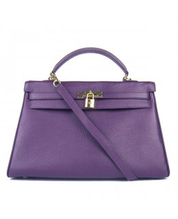 Replica Hermes Kelly Handbag 32cm Purple Togo Leather Golden Metal-79057