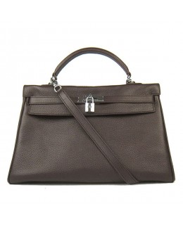 Replica Hermes Kelly Handbag 32cm Coffee Togo Leather Silver Metal-79058