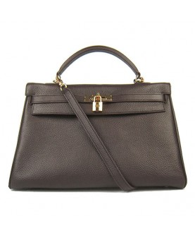 Replica Hermes Kelly Handbag 32cm Coffee Togo Leather Golden Metal-79059