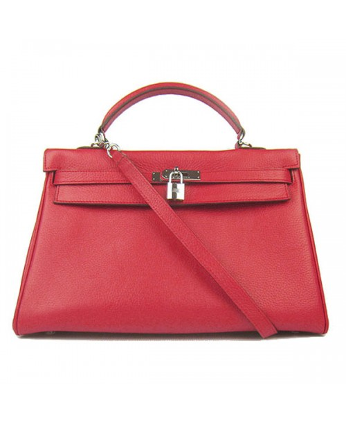 Replica Hermes Kelly Handbag 32cm Red Togo Leather Silver Metal-79060
