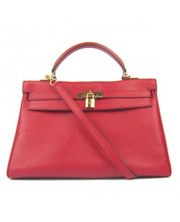 Replica Hermes Kelly Handbag 32cm Red Togo Leather Golden Metal-79061