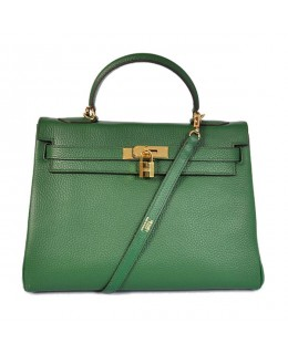 Replica Hermes Kelly Handbag 32cm Deep Green Togo Leather Golden Metal-79062