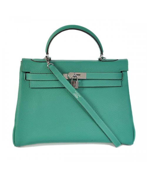 Replica Hermes Kelly Handbag 32cm Lake Green Togo Leather Silver Metal-79063