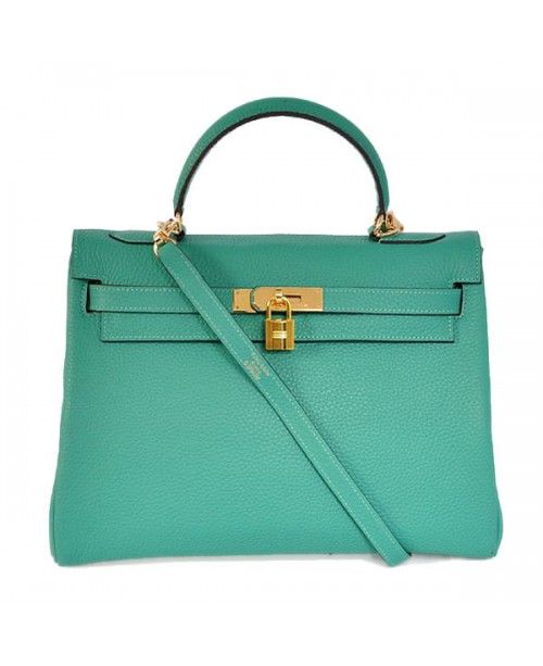 Replica Hermes Kelly Handbag 32cm Lake Green Togo Leather Golden Metal-79064