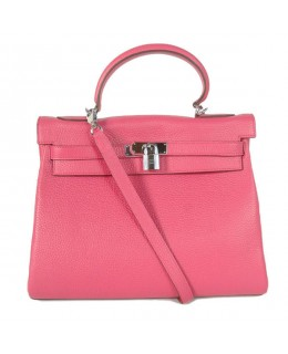 Replica Hermes Kelly Handbag 32cm Pink Togo Leather Silver Metal-79065