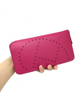 Replica Hermes Wallet Plum Red Togo Leather-79067