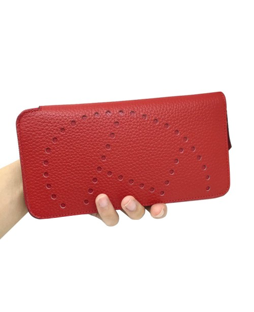 Replica Hermes Wallet Red Togo Leather-79068